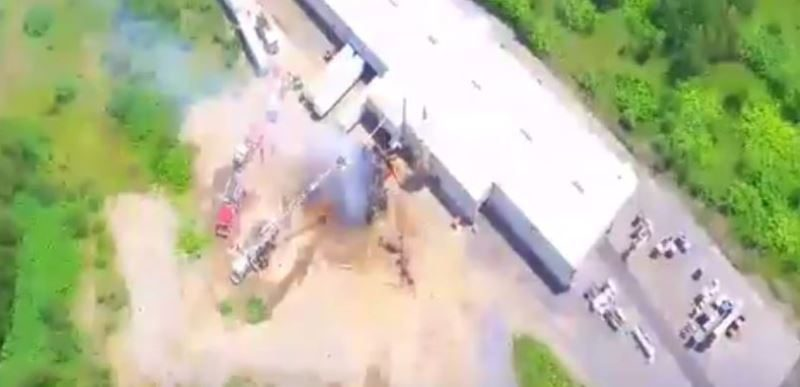 WATCH: Drone Video of Silo Fire at Penn Pallet