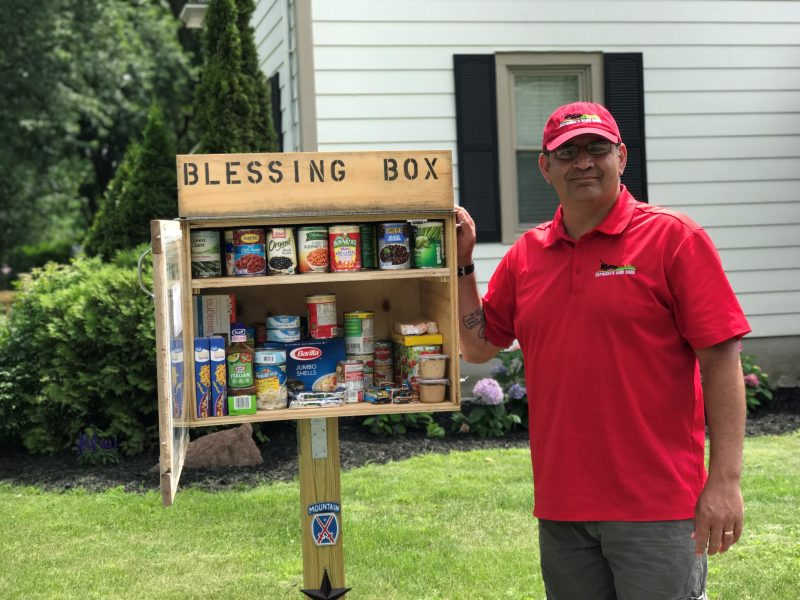 Man builds a food pantry on his lawn so the hungry can eat
