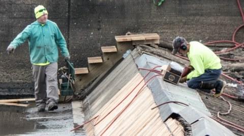 PHOTO SLIDESHOW: Repairs Being Done to Raftmen's Memorial Timber Dam
