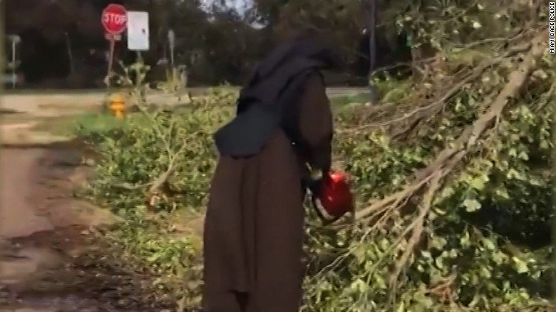 Chainsaw-wielding nun clears debris from Irma