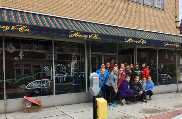 Art Students Decorate Storefronts for the Holidays in Downtown Clearfield
