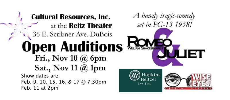 Auditions Open for a Revised Edition of Shakespeare's Romeo & Juliet at Reitz Theater