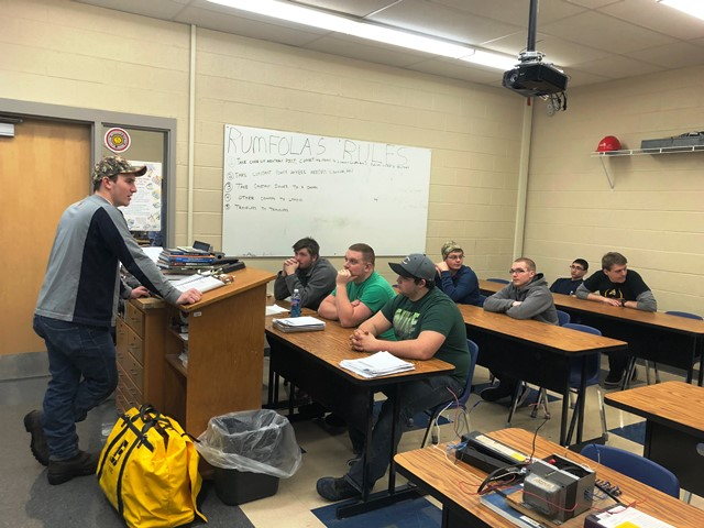 Former Student Speaks to CCCTC's Electrical Occupations Class