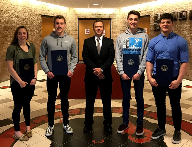 Sankey Presents Citations to Clearfield State Champions