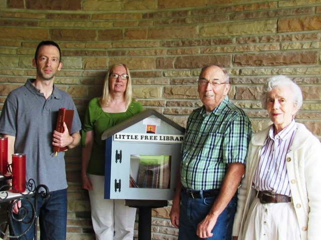 Perry Blesses Little, Free Library at St. Severin Church