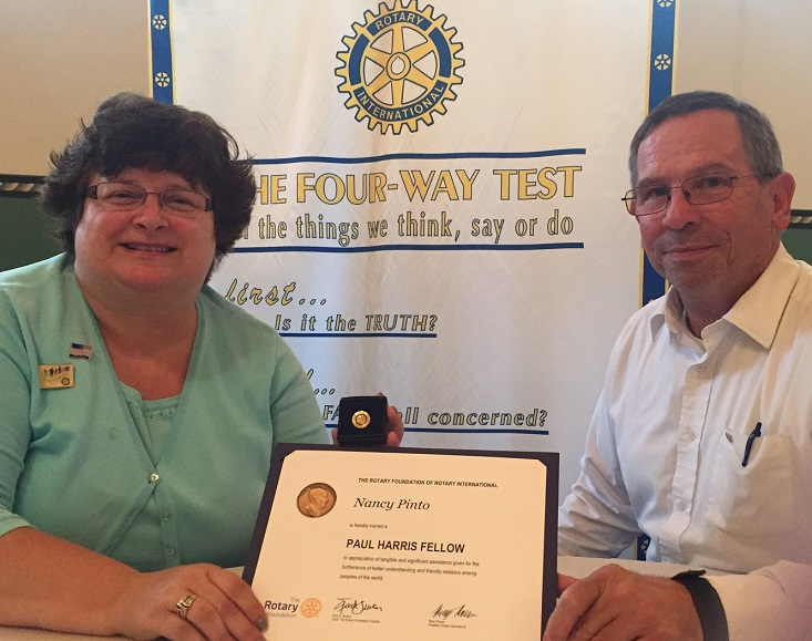 Pinto Recognized by Clearfield Rotary