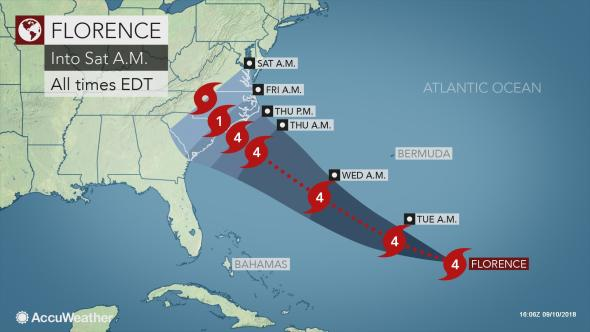 Strengthening Florence to Pose Serious Threat to U.S. East Coast Later This Week