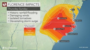 Dangerous Category 4 Hurricane Florence Likely to Stall and Pound Carolinas, Virginia for Days