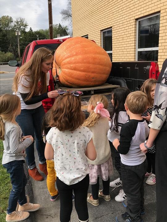 800-Pound Pumpkin Visits St. Francis School