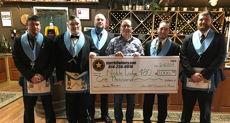 Curwensville Noble Lodge Receives Contribution from Starr Hill