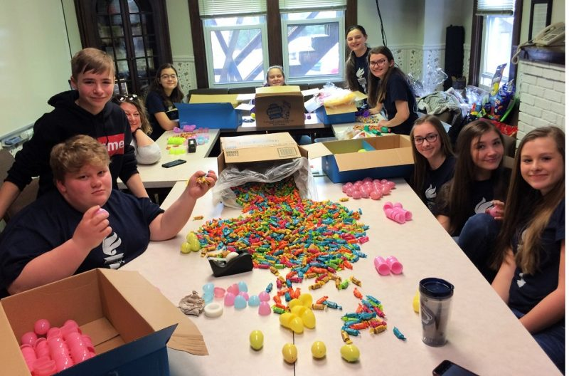 St. Francis School Students Fill Easter Eggs for Children's Aid Society