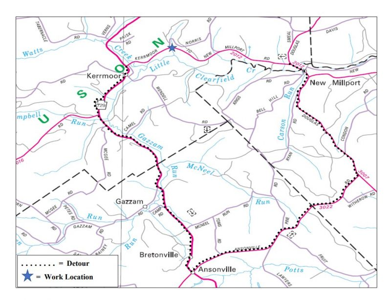 Section of Route 2012 in Ferguson Twp. to Close for Pipe Work