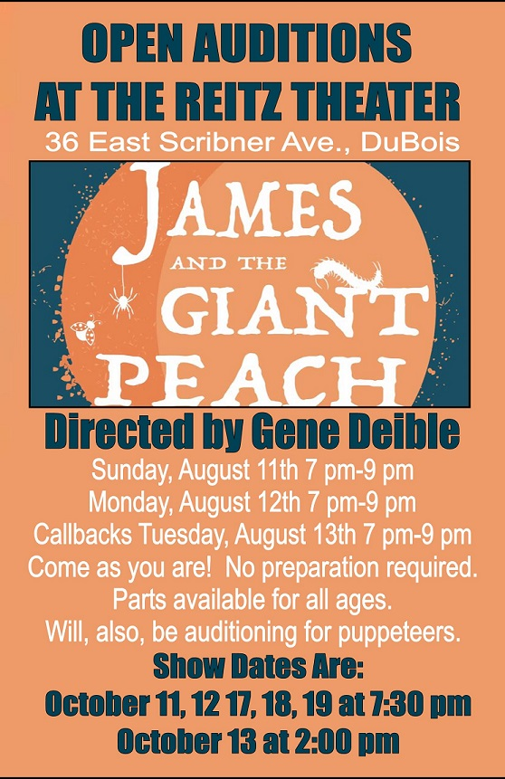 Reitz Theater to Hold Auditions for James and the Giant Peach