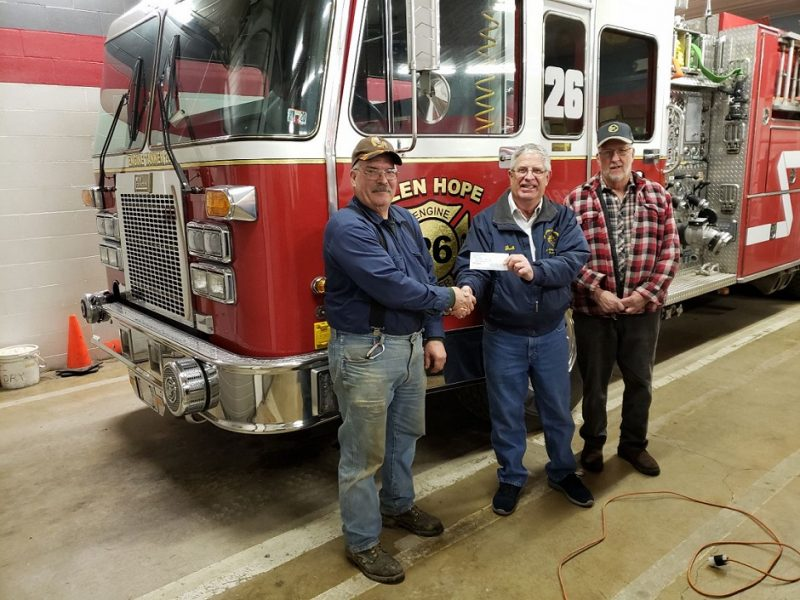 Houtzdale Knights of Columbus Donates to Glen Hope Fire Company